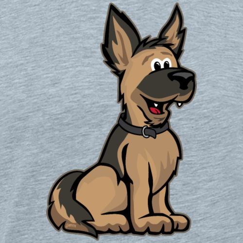 Cute German Shepard Dog Cartoon - Men's Premium T-Shirt