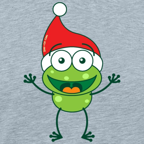 Green frog wearing Santa hat and celebrating Xmas - Men's Premium T-Shirt