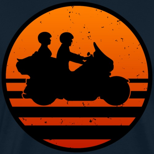 Retro Touring Motorcycle Couple Sunset - Men's Premium T-Shirt