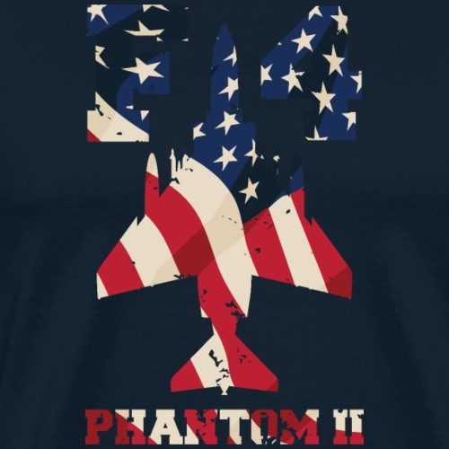 F-4 Phantom II Aircraft with USA Flag Overlay - Men's Premium T-Shirt