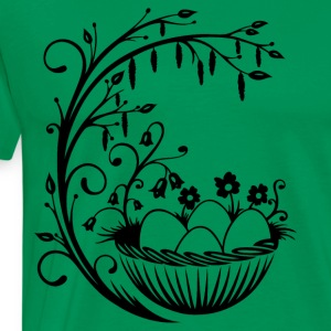 Happy Easter. Basket with easter eggs and flowers. - Men's Premium T-Shirt