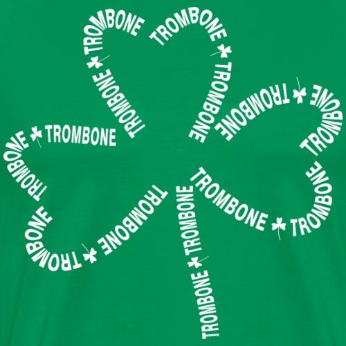 Trombone White Text Shamrock - Men's Premium T-Shirt