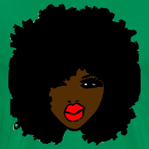 BrownSkin Curly Afro Natural Hair PinkLips T-Shirt - Men's Premium T-Shirt