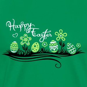 Happy Easter. Easter eggs in the grass with flower - Men's Premium T-Shirt
