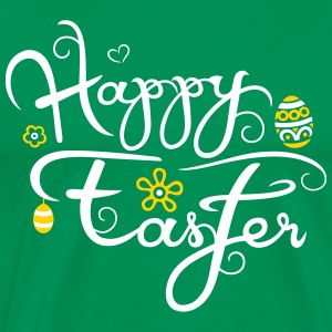 Happy Easter logo with easter eggs and flowers. - Men's Premium T-Shirt