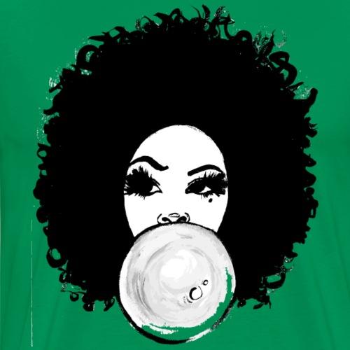 Curly Afro Pretty Girl Bubble Gum Poppin T-Shirt - Men's Premium T-Shirt