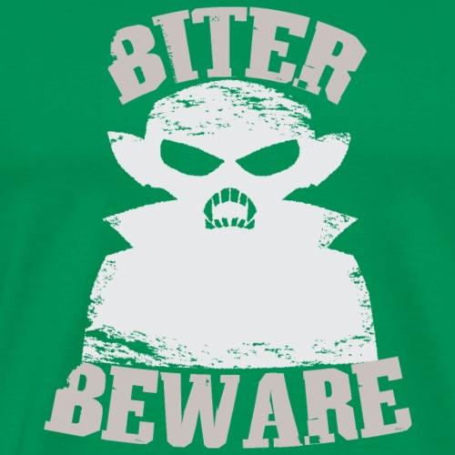 Biter Beware Funny Vampire Halloween T-Shirt - Men's Premium T-Shirt