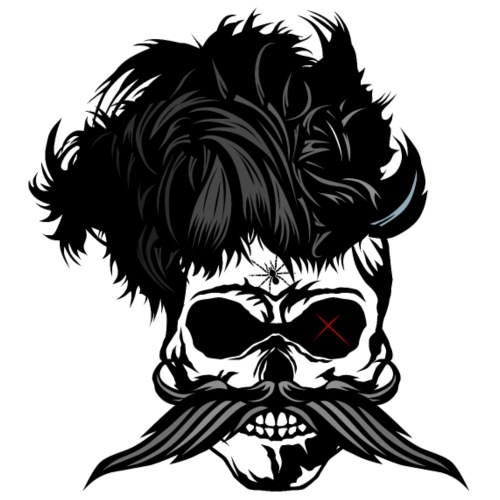 skull mustachioed hipster punk mustache hairstyle - Men's Premium T-Shirt