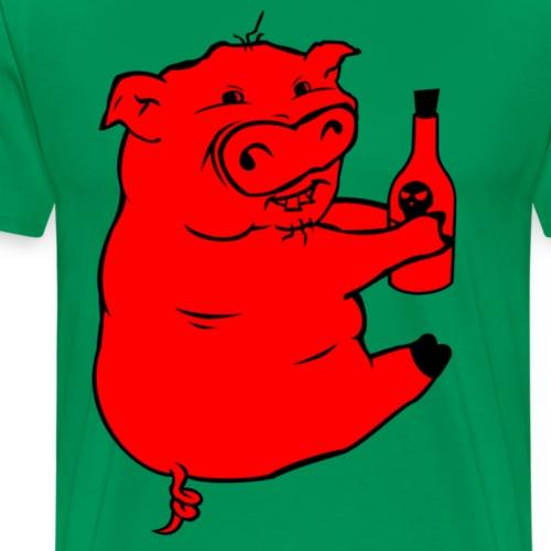 Poison Pig - Red & Black - Men's Premium T-Shirt