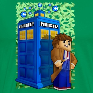 8bit Blue Phone Box World - Men's Premium T-Shirt