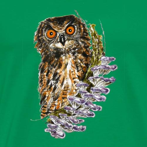 Owl / fungi / mushrooms - Men's Premium T-Shirt