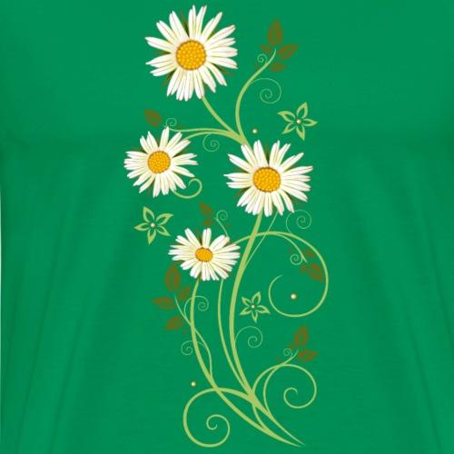 Filigree tendril with Marguerites, daisies - Men's Premium T-Shirt
