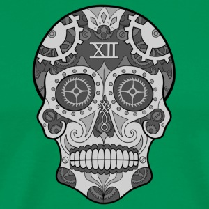 Clock Sugar Skull Grey - Men's Premium T-Shirt