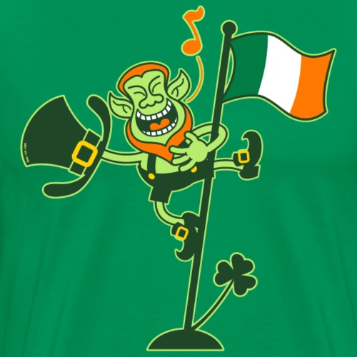 Proud Leprechaun Singing on an Irish Flag Pole - Men's Premium T-Shirt