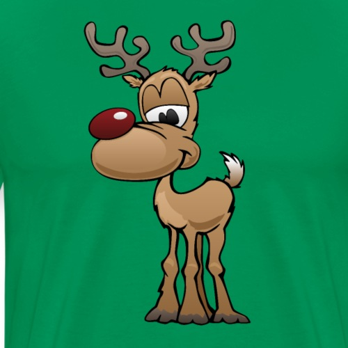 Cute Christmas Reindeer Cartoon - Men's Premium T-Shirt