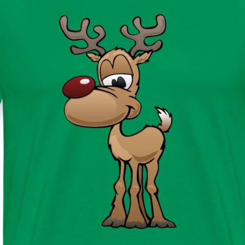 Cute Christmas Reindeer Cartoon - Men's Premium T-Shirt