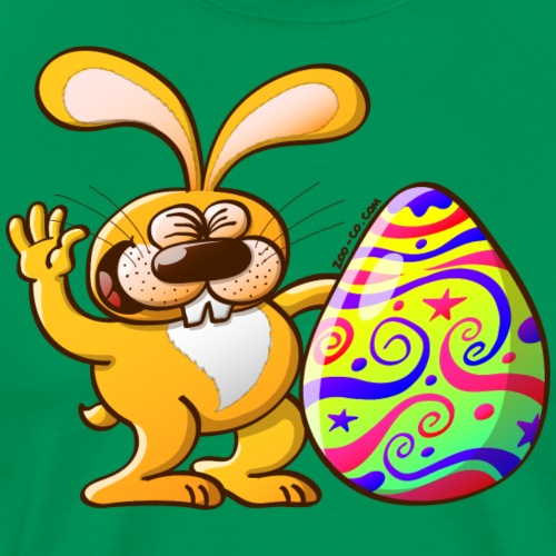 Easter Bunny Proud of his Big Decorated Egg - Men's Premium T-Shirt