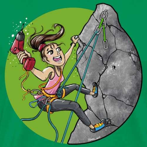 Rock Climber Setting up a route - Men's Premium T-Shirt