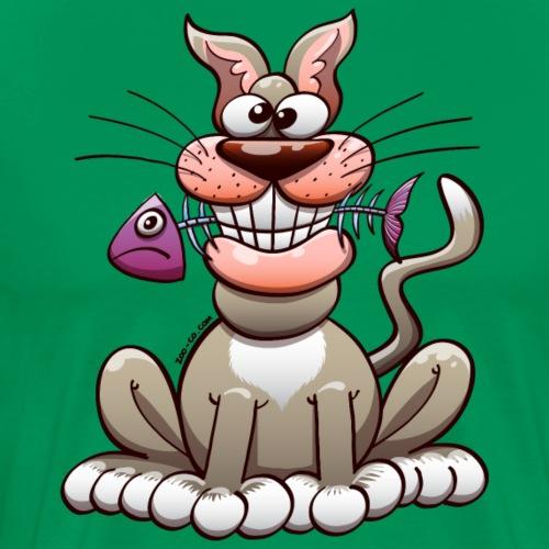 Cat Posing with a Fish - Men's Premium T-Shirt