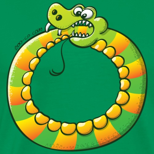 Crazy Snake Biting its own Tail - Men's Premium T-Shirt