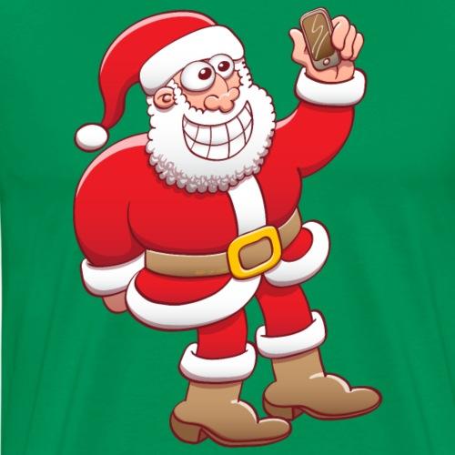 Santa Claus nervously grinning while taking selfie - Men's Premium T-Shirt