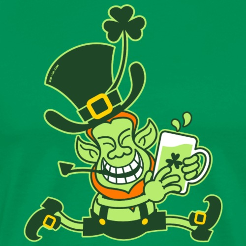 Green Leprechaun smiling while running with beer - Men's Premium T-Shirt