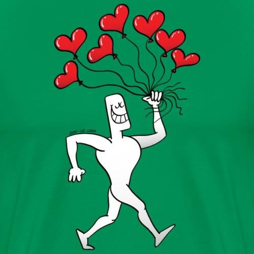 Man Walking with Heart Balloons - Men's Premium T-Shirt