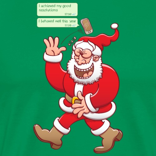 Santa laughs out loud at fake good behavior texts - Men's Premium T-Shirt