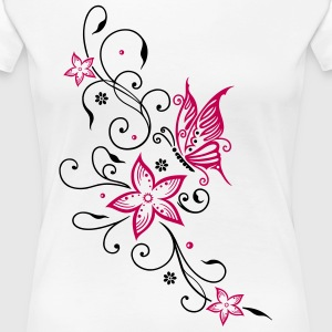 Flowers with filigree floral ornament, butterfly - Women's Premium T-Shirt