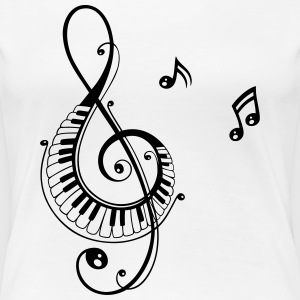 Clef with piano and music notes, i love music. - Women's Premium T-Shirt