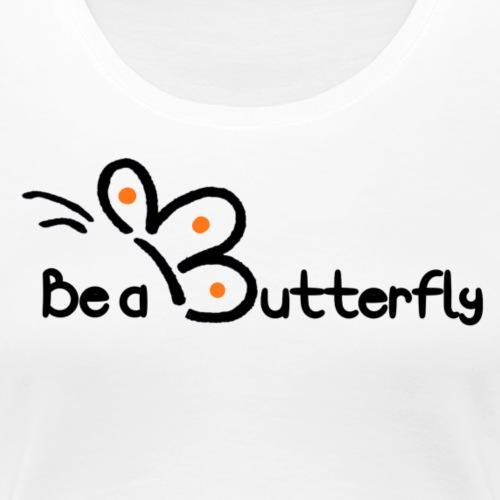 Be a Butterfly logo in orange - Women's Premium T-Shirt