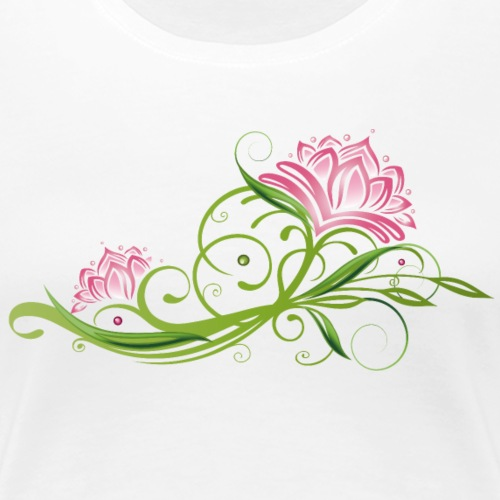 Lotus flowers with tendril and leaves - Women's Premium T-Shirt