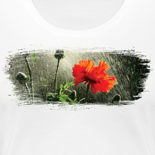 Poppies in the rain paint stroke - Women's Premium T-Shirt