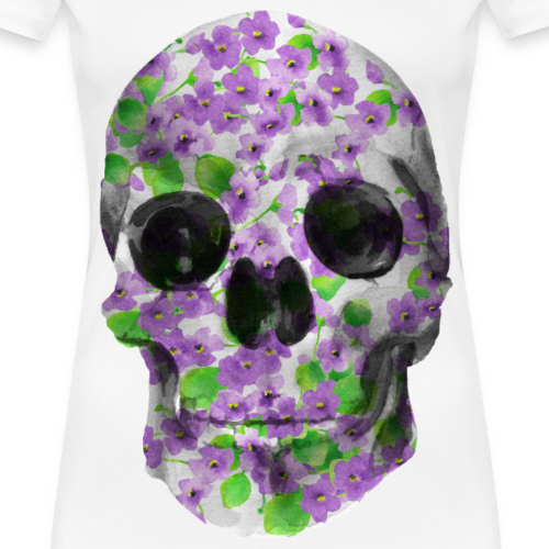 Floral Skull in watercolor - Violets