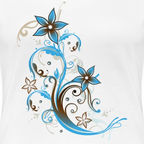 Party Beach Design. Tendril with flowers and waves - Women's Premium T-Shirt