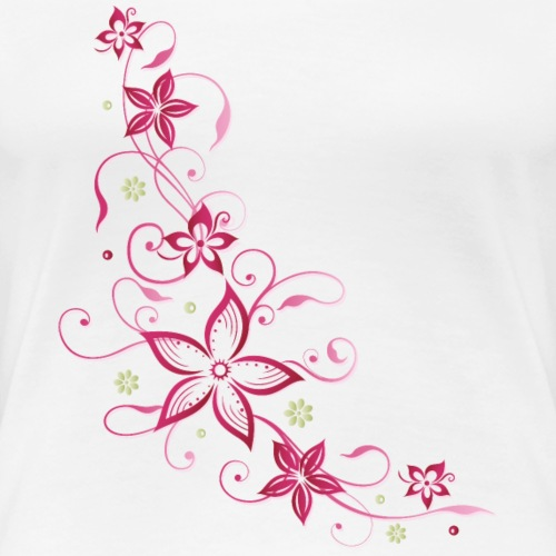 Floral tendril with flowers, summer, pink. - Women's Premium T-Shirt