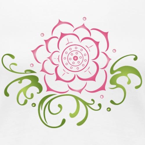 Lotus flower with filigree tribal. Yoga. - Women's Premium T-Shirt
