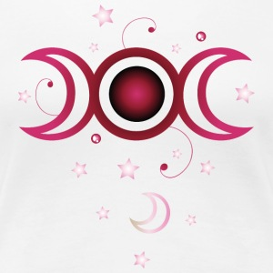 Triple moon with stars, pink. - Women's Premium T-Shirt