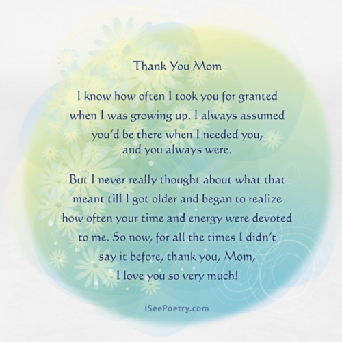 Thank You Mom - Poetry Gifts - Floral - Women's Premium T-Shirt