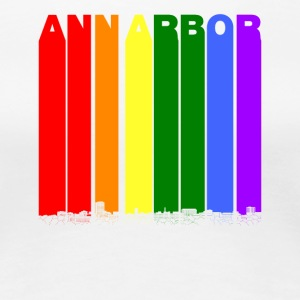Ann Arbor Michigan Skyline Rainbow LGBT Gay Pride - Women's Premium T-Shirt