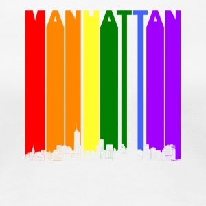 Manhattan New York Skyline Rainbow LGBT Gay Pride - Women's Premium T-Shirt