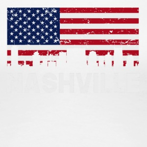 Nashville TN American Flag Skyline Distressed - Women's Premium T-Shirt