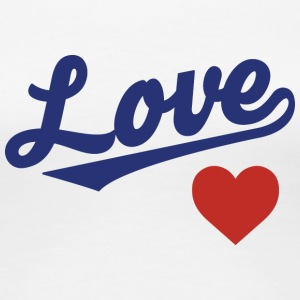 Love Heart - Cursive Team Design (Blue/Red) - Women's Premium T-Shirt
