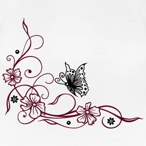 Flowers with filigree floral ornament, butterfly. - Women's Premium T-Shirt