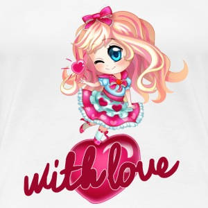 blonde chibi with heart - Women's Premium T-Shirt
