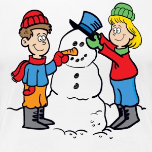 Cartoon_Snowman - Women's Premium T-Shirt
