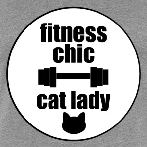 Fitness Chic Cat Lady with border - Women's Premium T-Shirt
