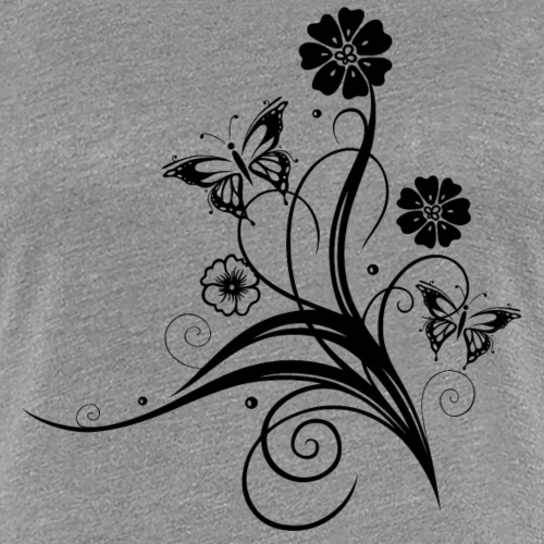 Tendril with flowers and butterflies, black - Women's Premium T-Shirt