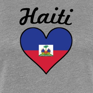 Haiti Flag Heart - Women's Premium T-Shirt