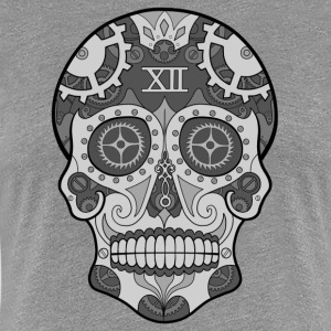 Clock Sugar Skull Grey - Women's Premium T-Shirt